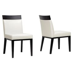 Clymene Wood and Leather Modern Dining Chair - Black/Cream (Ivory) (Set of 2) - Baxton Studio