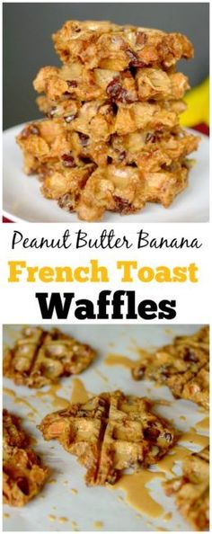 Have leftover bread that's going stale?  Use it to make these Peanut Butter Banana French Toast Waffles! They are incredibly easy to make and secretly healthy!  vegan + gluten-free!  Perfect for Christmas morning!