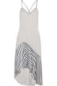 Jonathan Simkhai - Asymmetric Striped Silk Crepe De Chine Dress - Off-white