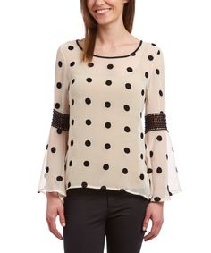 Look at this Mechant Black & Cream Polka Dot Bell-Sleeve Top on #zulily today!