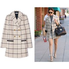 Emmy Rossum's Tory Burch Plaid Short Coat - Red Carpet Fashion Awards ❤ liked on Polyvore featuring outerwear