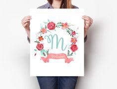 Poster Quadro Monograma Personalizado | Criattiva Studio | Elo7
