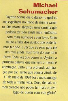 Ayrton Senna: A Admiração de Michael Schumacher Por Ayrton Senna EM CONSTRUÇÃO
