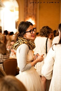 White raglan tee, white tulle skirt, and leopard scarf. Love it!