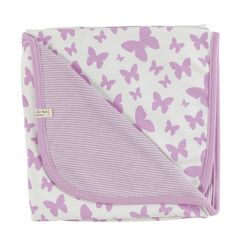 Organic Butterfly Blanket By Organics For Kids £21.95    A Beautifl Baby Girl 100% Organic Cotton Blanket, In White With Pink Butterfly Detail.    100% Organic Cotton For Delicate Babies.    Made In  England By Organics For Kids    70 x 70 cm