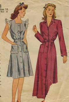 1940s Simplicity 4718 Vintage Sewing Pattern Misses House Dress House Coat Size 14 Bust 32