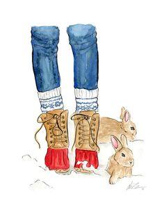 Bunny Boots Watercolor Winter Holiday Art Print by KaraEndres