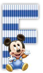 Alfabeto Mickey Bebé con fondo en rayas celestes.   Oh my Alfabetos!