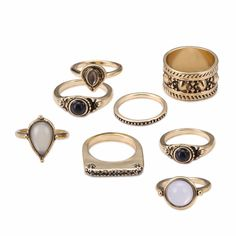 Vintage Gold Color Ring Sets For Women Rhinestone Crystal Resin Gem Jewelry Sets Dubai Women Fashion Finger Accessories 8Pcs