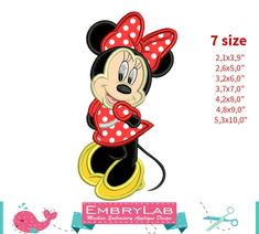 Applique Minnie Mouse. Machine Embroidery Applique by EmbryLab