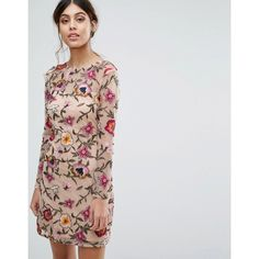 Frock and Frill Mini Prom Dress in Floral Embroidery ($229) ❤ liked on Polyvore featuring dresses, pink, beaded cocktail dresses, vintage cocktail dresses, shift dresses, sequin mini dress and vintage maxi dresses