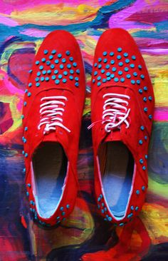 Red suede shoes with green leather dots (stitched them one by one, by hand). I made these for fun some time ago. Painting is mine, too. Shoes by Anna Kokki, Red Suede Shoes, Green Leather, Pattern Design, Print Patterns, Anna, Dots, Stitch, Handmade, Painting