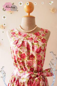 SALE Size M Floral Dress Tea Party Dress Floral Sundress