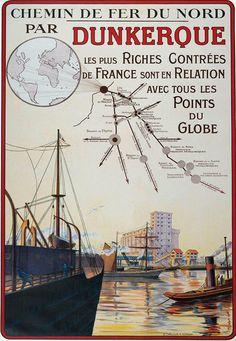 Affiche chemin de fer Nord - Dunkerque - illustration de J. Delecourt - France -
