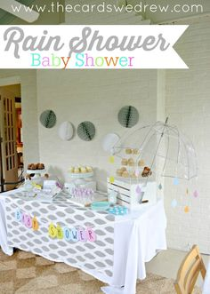 A gender neutral Rain Shower Baby Shower themed party with prints from DimplePrints and simple ideas anyone can execute.