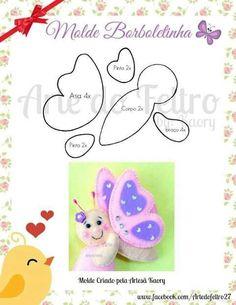 butterfly mold on felt Felt Patterns, Craft Patterns, Sewing Patterns, Felt Templates, Felt Baby, Butterfly Pattern, Butterfly Felt, Sewing Toys, Felt Fabric