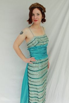 Amazing 1950s 1960s Emma Domb Sleeveless Sequined Evening Dress with Attached Blue Satin Train