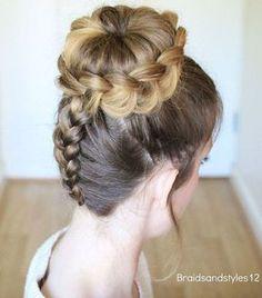 dutch braid and bun updo . dutch braid and bun updo Dance Hairstyles, Pretty Hairstyles, Wedding Hairstyles, Wedding Updo, Braided Hairstyles Updo, Formal Hairstyles, Vintage Hairstyles, Wedding Nails, Braid Styles