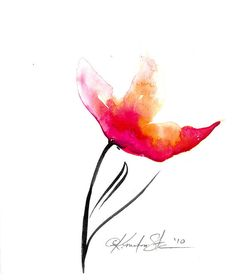 """Abstract Flower Painting, Pink, Orange, Poppy Floral Art, """"Floral 10"""" Original Contemporary Watercolor by Kathy Morton Stanion  EBSQ"""