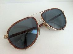 Vintage Christian Dior Monsieur Aviator Rx Sunglasses Tortoise Shell Gold Metal…