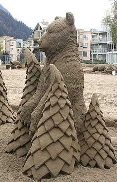 Splendid Pictures Around The Net: Harrison Hot Springs' Sand Sculpture World Championships Oregon Beaches, Ice Art, Snow Sculptures, Snow Art, Castle In The Sky, Sand And Water, Water Play, Grain Of Sand, Wood Sculpture