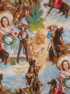 Vintage Mexican Cowgirls Fabric
