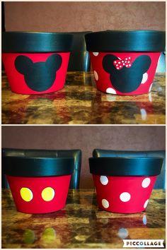 Mickey & Minnie flower pots. Terracota. Handpainted pots.