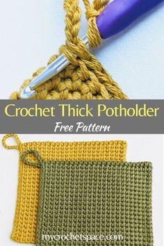 Crochet Dishcloths, Knit Crochet, Beginning Crochet, Easy Crochet Projects, Hot Pads, Pot Holders, Crochet Potholder Patterns, Crochet Stitches, Straw Bag