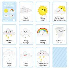 - Buy this stock vector and explore similar vectors at Adobe Stock Weather Activities Preschool, Seasons Activities, Montessori Activities, Weather For Kids, Free Printable Bingo Cards, Babies First Words, Kindergarten Addition Worksheets, Indonesian Language, Flashcards For Kids