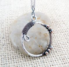 Hammered Mixed Metal Pendant - Wire Wrapped Pendant