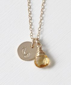 Gold Fill Baby Footprints Necklace with November Birthstone.  Jewelry gifts for new moms.  Push presents.  blueroomgems.com
