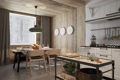 déco de cuisine et de salle à manger avec du lambris