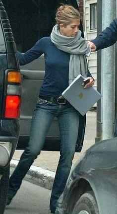 Jennifer Aniston - jeans, blue long-sleeved casual top, black belt & gray shawl