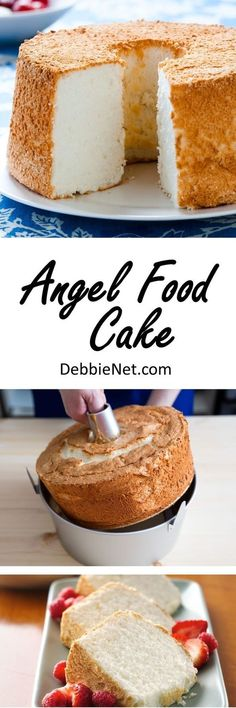 This light and fluffy angel food cake is the perfect dessert for any occasion. Add some berries or drizzle with icing. Perfection! | DebbieNet.com