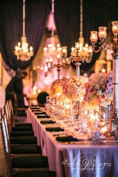 Gorgeous lighting and soft candlelight set just the right tone. Photo Credit -  @Rachel A. Clingen Wedding & Event Design