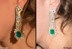 Catherine, Duchess of Cambridge - Emerald and diamond earrings that were a private gift.