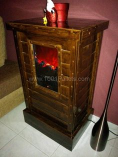 a5 600x800 Pallet cabinet for electric fireplace device in pallet living room  with Pallets fireplace Cabinet