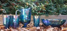 Iridescent Blue Indiana Carnival Glass Pitcher, Glasses, Serving Dish Vintage #IndianaGlass