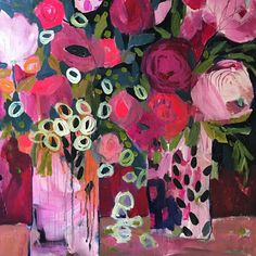 """""""Who told you that one paints with colors? One makes use of colors, but one paints with emotions."""" Jean Baptiste Simeon Chardin #wip #carrieschmitt #intuitivepainting #flowers #design"""