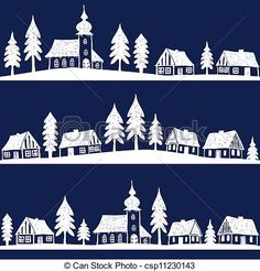 Vector - Christmas village with church seamless pattern - hand drawn illustration - stock illustration, royalty free illustrations, stock clip art icon, stock clipart icons, logo, line art, EPS picture, pictures, graphic, graphics, drawing, drawings, vector image, artwork, EPS vector art