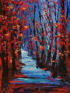 Autumn trees landscape original painting art by Debra Hurd, painting by artist Debra Hurd