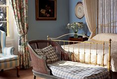 Brownlow - Langar Hall: Country Hotel & Restaurant Nottinghamshire Langar Hall, Country Hotel, Pastel Blue, Interior Design Inspiration, Hanging Chair, Furniture Decor, Interior And Exterior, Toddler Bed, Blue Interiors