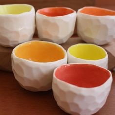 orange faceted coffee/sake cups by golden ink.