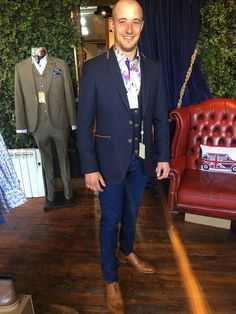 Happy Customer Dean in our Claudio shirt jacket and waistcoat and Barkers Shoes. Very dapper