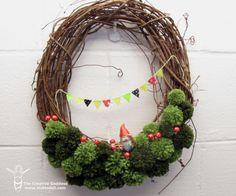Spring Grapevine and Pom Pom Wreath