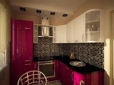 Дизайн маленькой кухни 6 кв.м с холодильником - фото интерьеров | Феломена