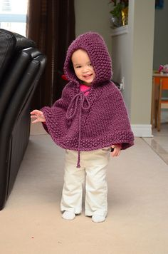 Pretty Darn Adorable Purple Poncho: free pattern, 12 months - 4 years Great for tossing on for a brief stint to visit the playground outside in the brisk Melbourne winter. No sleeves to mess with that all-important drip!