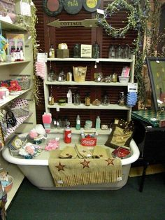 My soap display at Peddler's Corner Antiques in Bedford, Indiana. Find more primitive displays on Facebook at Peddler's Corner Antiques.
