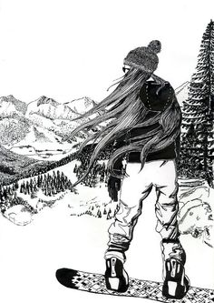 Snowboard illustration.....i can see my hair doing this when i go riding
