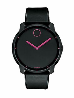 pink rims Movado Bold - Large Movado BOLD watch, flat 44 mm sandblasted black ion-plated stainless steel case, matte black dial with deep pink-rimmed flat black dot, deep pink hands and stic Black Stainless Steel, Stainless Steel Watch, Sport Watches, Watches For Men, Black Watches, Black Face Watch, Estilo Hip Hop, Pink Rims, Blue Accents